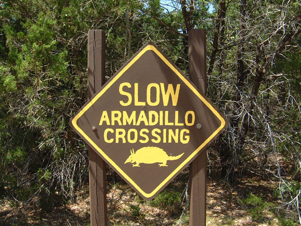 Armadillo Road Sign