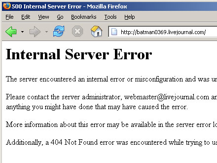 Screenshot of Livejournal Error Page